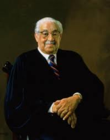 Thurgood Marshall sworn in as first black U.S. Supreme Court justice.