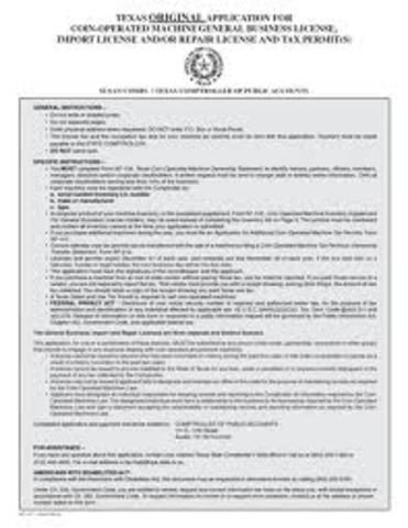 Texas Business License Application
