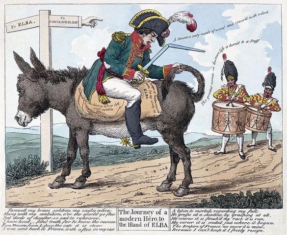 Napoleon abdicates-exile to Elba.