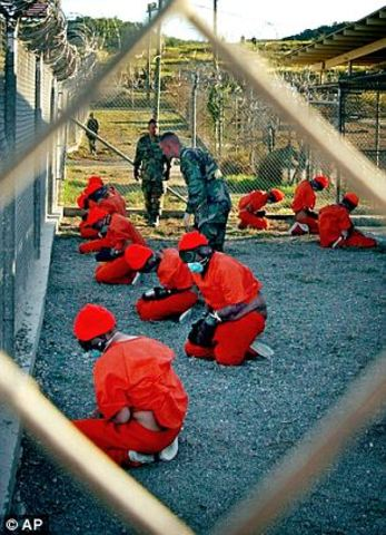 Human rights activists believe prisoners kept at camp X-Ray, Guantanamo Bay, Cuba are being abused