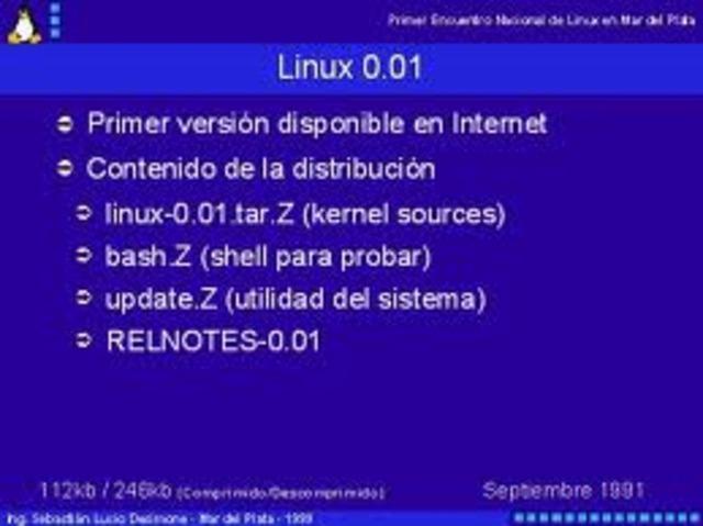 torvalds envia la primera version  de linux 0.01