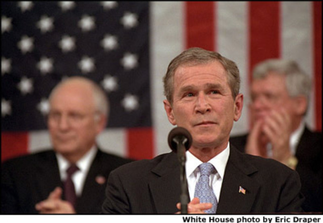 """In his State of the Union Address, United States President George W. Bush describes """"regimes that sponsor terror"""" as an Axis of Evil, in which he includes Iraq, Iran and North Korea"""