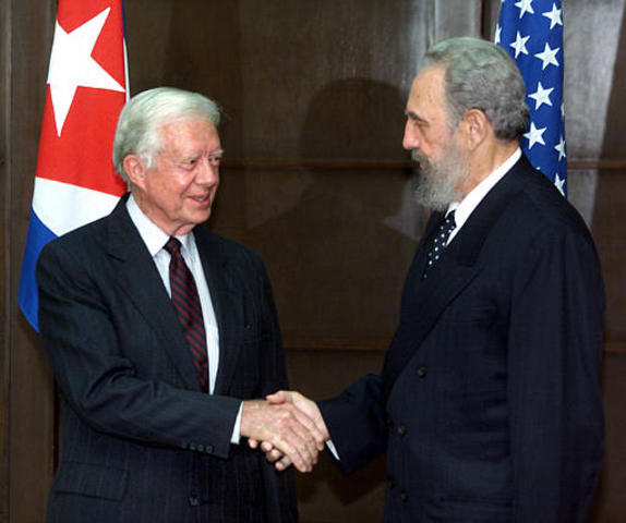 Former US President Jimmy Carter arrives in Cuba for a five-day visit with Fidel Castro becoming first President of the United States, in or out of office, to visit the island since Castro's 1959 revolution