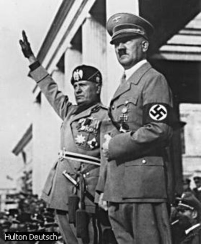 Mussolini is captured and hung.