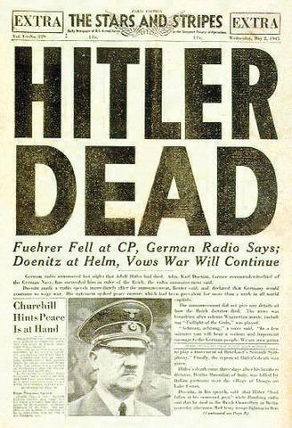 Hitler commits suicide in his bunker.