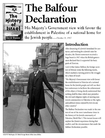 Britian gave support to the Zionest Movment by the Balfour Declaration