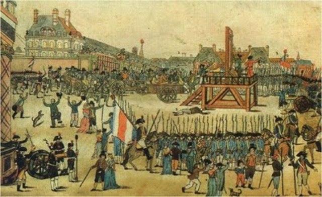 Robespierre. Sant-Just e seus companheiros são guilhotinados.