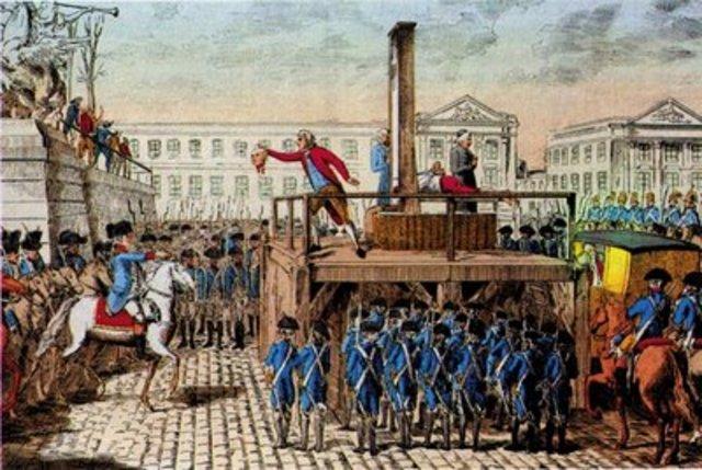 Robespierre, Saint-Juste comapanheiros são guilhotinados.