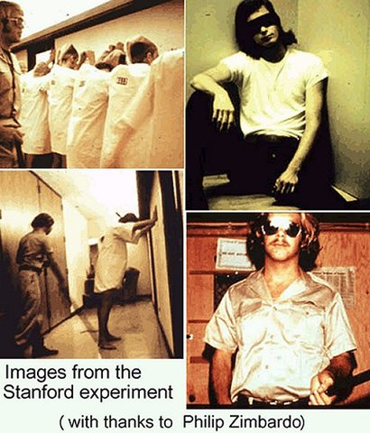 """Zimbardo Conducts <a href=""""http://www.prisonexp.org/"""" rel=""""nofollow"""">The Stanford Prison Experiment</a>"""