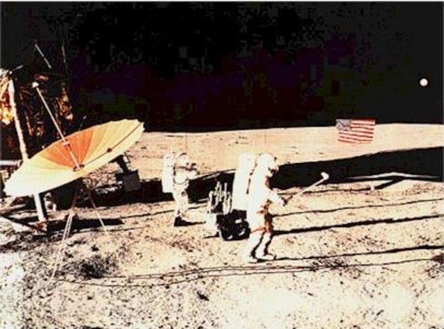 Alan Shepard hits a golf ball off the moon.