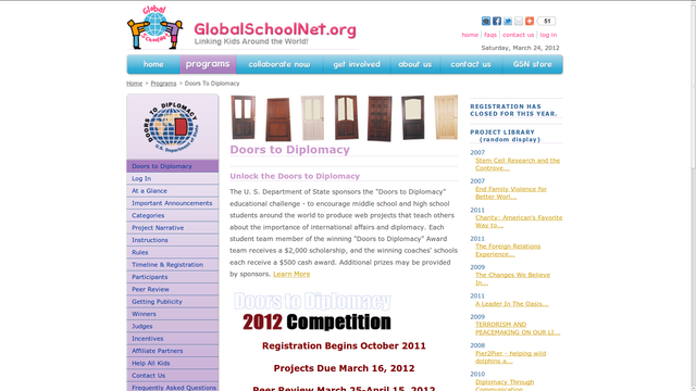 We decided to participate in the Doors to Diplomacy competition