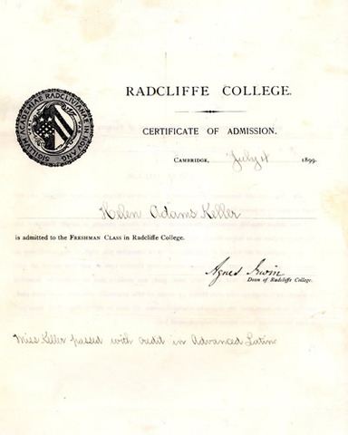 Helen accepted to Radcliffe College