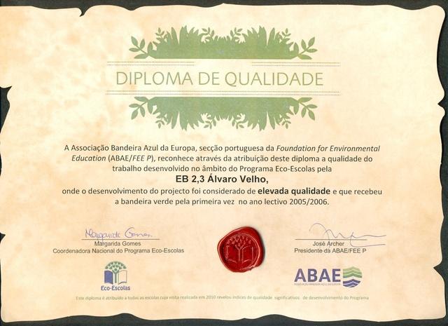 Eco-Escolas 2010 - Diploma de Qualidade