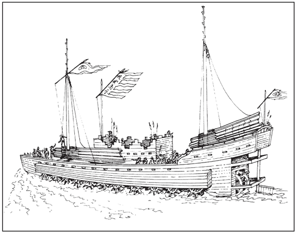 First paddle-wheel ships