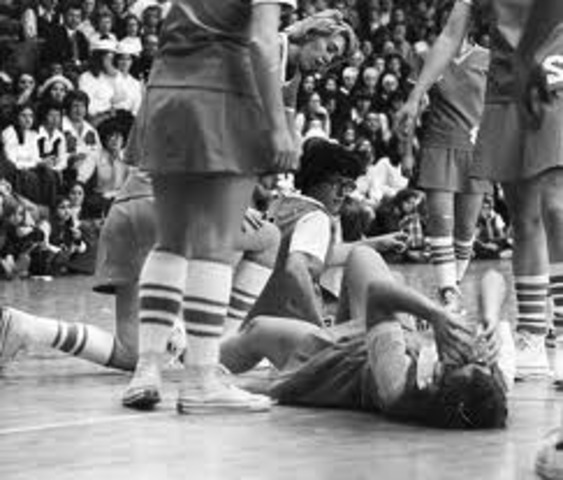 On Jan. 27, the first-ever nationally televised women's college basketball game sees Immaculata defeat the University of Maryland, 85-63.
