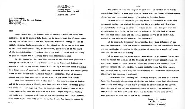The Einstein–Szilárd Letter