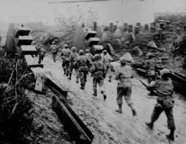 American troops crossed Siegfried line near Aachen