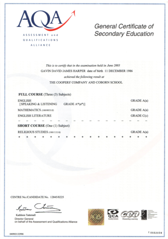 The General Certificate of Secondary Education (GCSE)