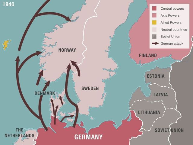 Nazis invade Denmark, Norway, the Netherlands, Luxembourg and Belgium – take control