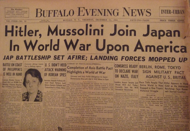 Hitler declares war on the US