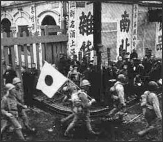 Japan invades China (Nanking)