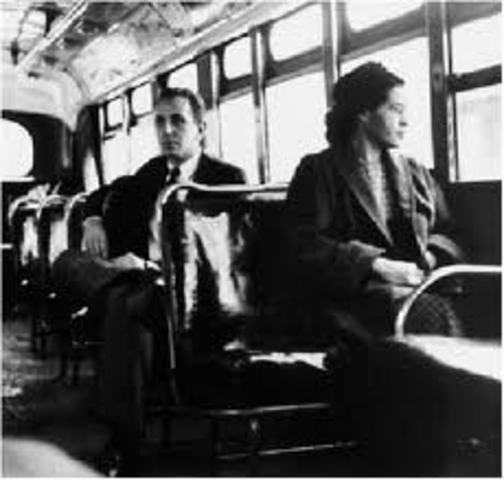 •Rosa Parks refuses to give up her seat