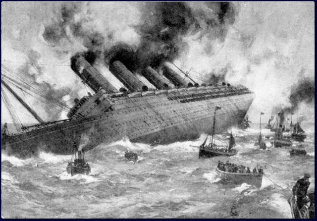 The sinking of the Lustiania