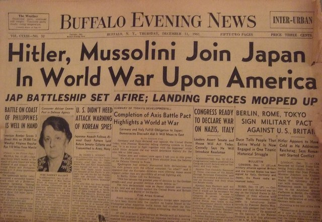 Italy decalsred war on the United states.