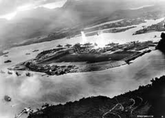 Pearl Harbor in Hawaii attacked by Japanese Naval and Air forces, US declares war on Japan, Germany and Italy declare war on the US