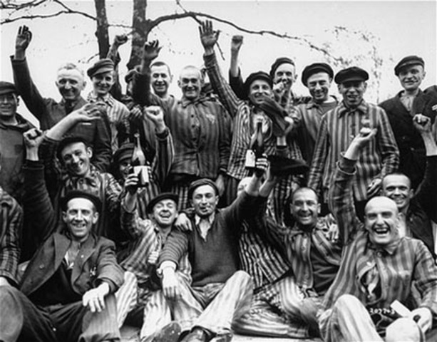 Inmates at Dachau and Buchenwald are freed by American troops