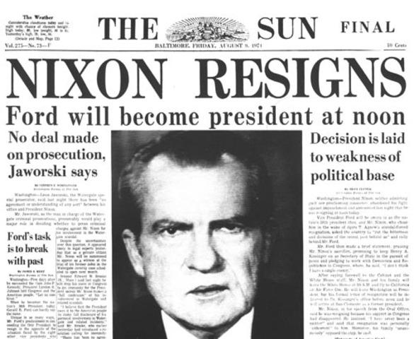 U.S president nixon resigns