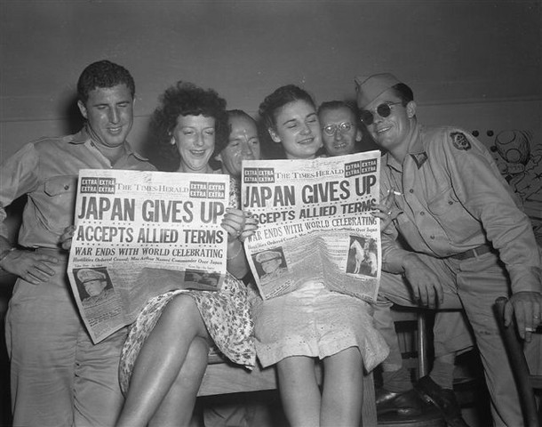 V-J Day, Japan surrenders to Allied Forces
