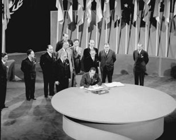Se convoca la conferencia de constitución de naciones unidas en San Francisco.