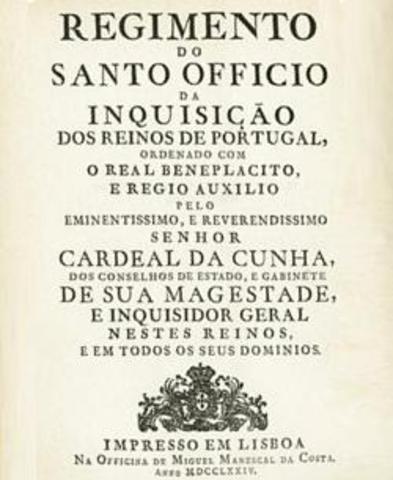 3 de agosto de 1552 Publicado o Regimento da Santa Inquisiçam, da autoria de D. Henrique