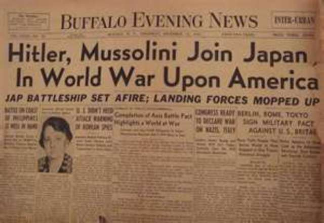 Germany and Italy declare war on the United States