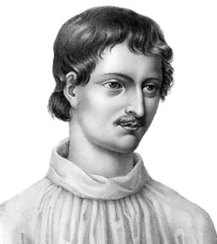 Italian scientist Giordano Bruno claims that neither Earth nor the sun is the center of the universe. Instead he suggests that the sun is simply one of the infinitely many stars, and that there might be countless planets like Earth.