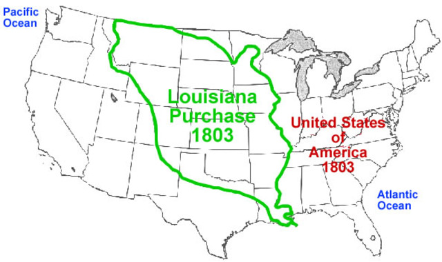 The United States purchased Louisiana Purchase with France