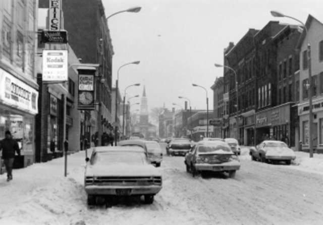 Church St. In Winter with Vehicle Traffic