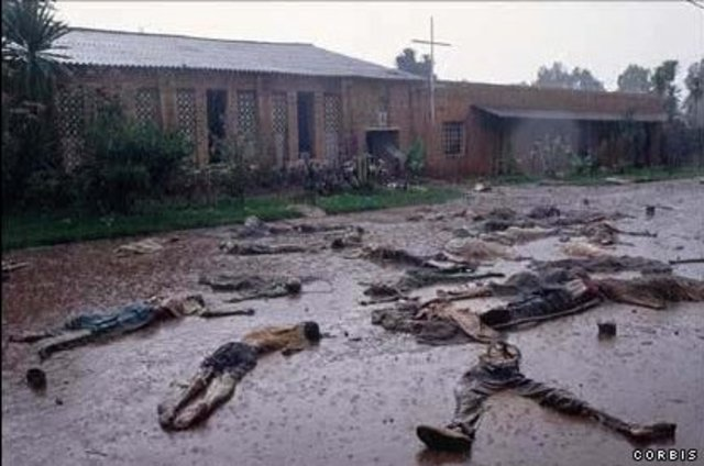 Massacre at the Nyarubuye Roman Catholic Church - thousands of Tutsi are killed, first by grenades and guns and then by machetes and clubs