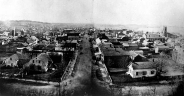 Bird's Eye View of Early Church Street from the Unitarin Church