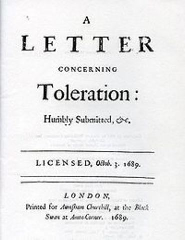 "Publication of John Locke's ""Letter Concerning Toleration"""