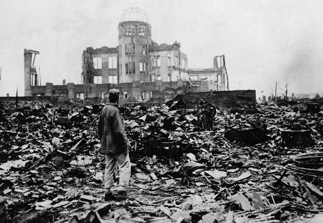 U.S. drops atomic bomb on Hiroshima & Nagasaki