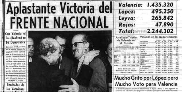 Comienza en Colombia el frente nacional.  Sube al poder Alberto Lleras Camargo.
