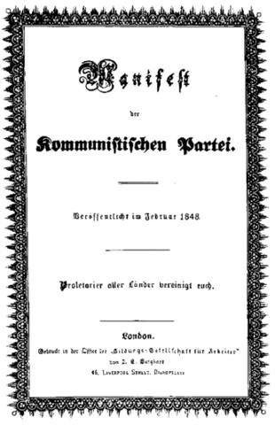 """""""El Manifiesto del partido comunista"""" de Karl Marx y Friedrich Engels."""