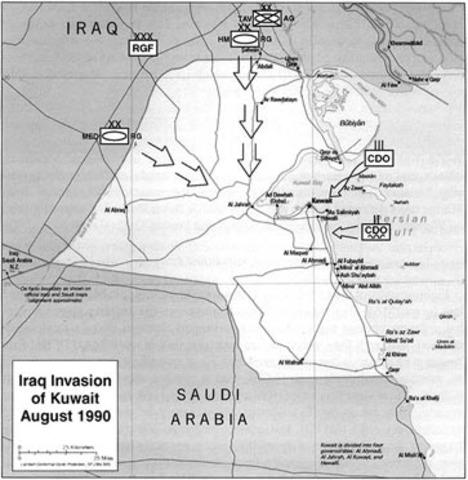 Iraq invades Kuwait resulting in Persian Golf War