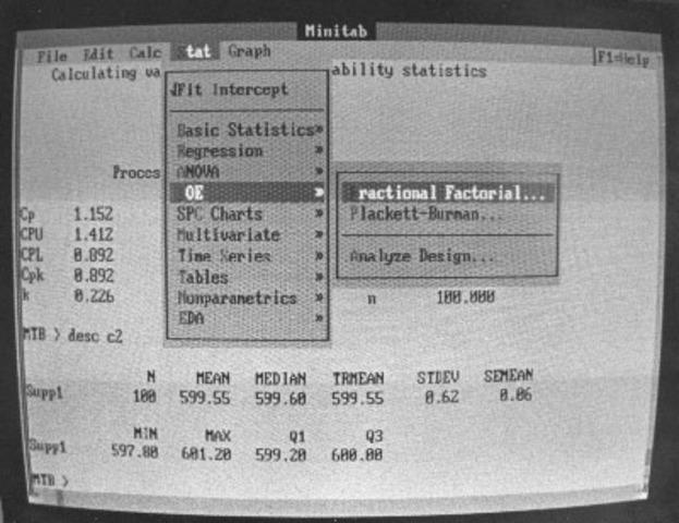 L'interface graphique de Minitab