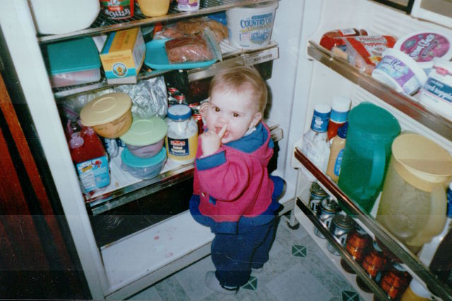 This is me getting into the fridge when I was one