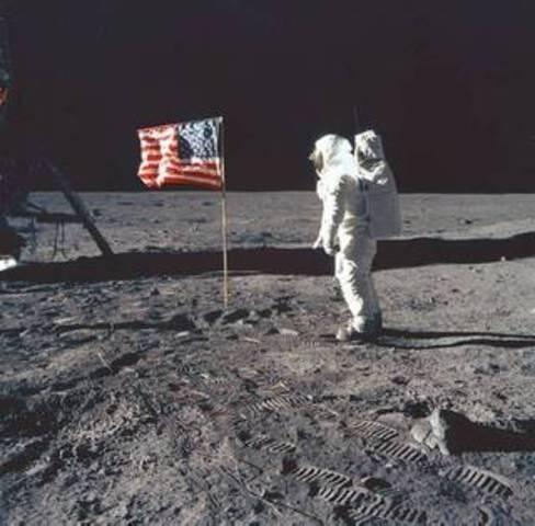 man lands on moon , U.S