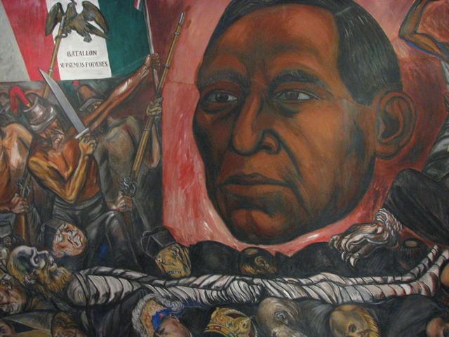 """Jose Clemente Orozco paints the mural """"Juarez Reborn"""""""