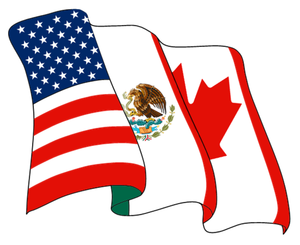 North American Free Trade Agreement (NAFTA) is implemented
